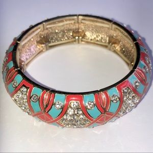 J. Crew Enamel Bracelet Turquoise Coral Crystal